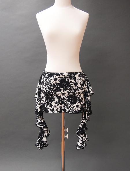 モノトーン花柄ヒップスカーフ1 ミラーナベリーダンス衣装