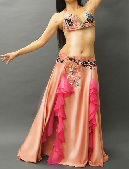 ロゼシャンパンのようなピンクベリーダンス衣装1 ミラーナ
