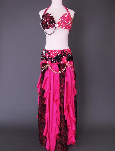 ピンクブラックレースベリーダンス衣装1 ミラーナ