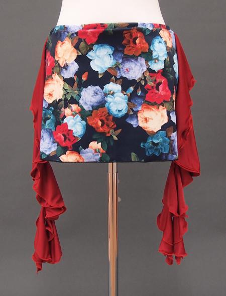 赤フリルネイビーローズヒップスカーフ2 ミラーナベリーダンス衣装