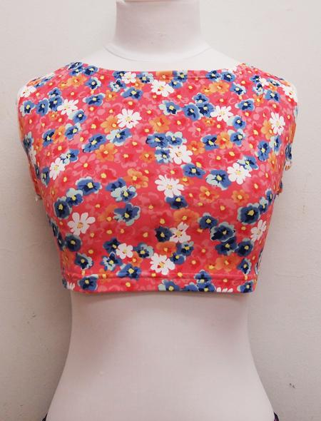ピンク花柄トップス ミラーナベリーダンス衣装
