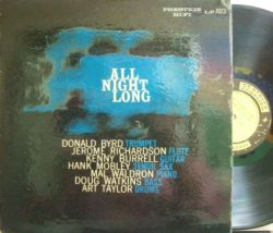 【米Prestige mono】Kenny Burrell/All Night Long (Hank Mobley, Donald Byrd, etc)