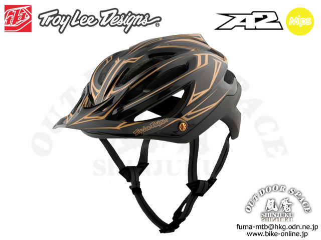 Troy Lee Designs [ A2  Helmet Mips ] PINSTRIPE / Black/Gold 【風魔新宿】
