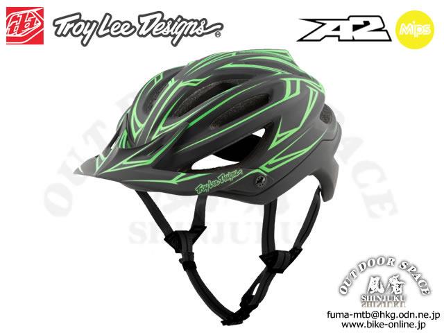 Troy Lee Designs [ A2  Helmet Mips ] PINSTRIPE / Black/Green 【風魔新宿】