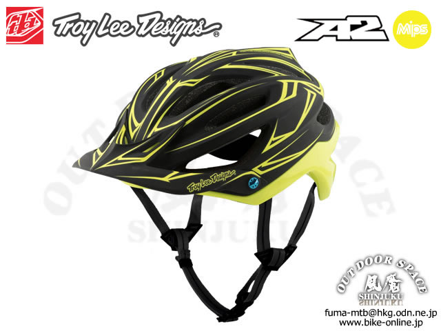 Troy Lee Designs [ A2  Helmet Mips ] PINSTRIPE / Black/Yellow 【風魔新宿】