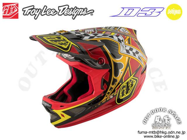Troy Lee Designs [ D3 Carbon HELMET Mips ] Longshot Red 【風魔新宿】