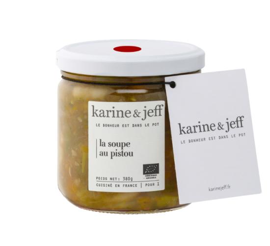 有機JAS認証 スープ・オ・ピストゥ カリーヌ&ジェフ(オーガニック 白いんげんと野菜のスープ)フランス産[390ml]【冷蔵便】