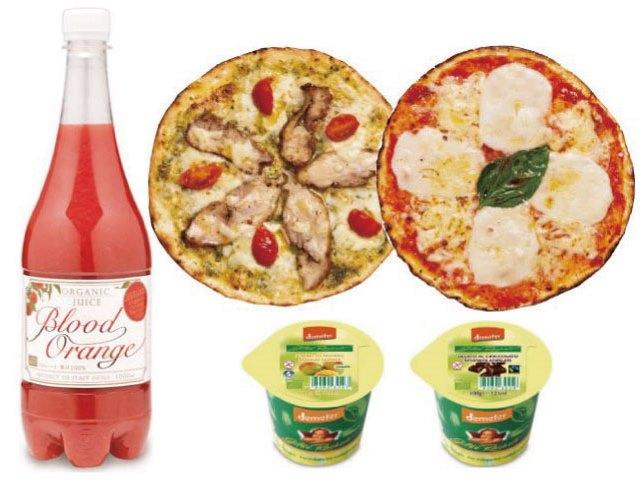オーガニック食品パーティーセット【A】(ブラッドオレンジジュース、ローマ風ピッツァ、イタリアンジェラート)2名様用