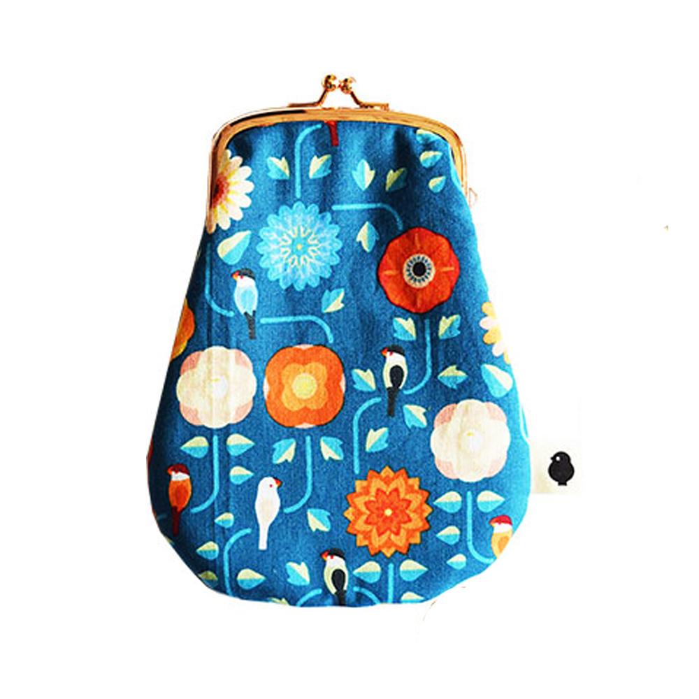 9996418【KOTORITACHI】卵がまぐち/文鳥と花飾り・くじゃく青(青緑)