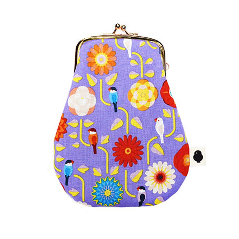 9996419【KOTORITACHI】卵がまぐち/文鳥と花飾り・りんどう(紫)