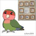 【Bird Island Cafe】★イラスト額/コザクラ・オリーブ