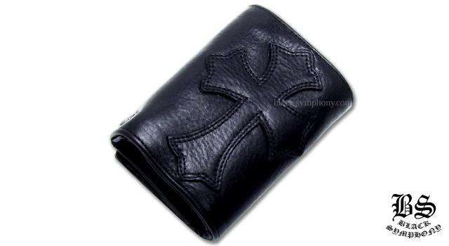 クロムハーツ 3フォールド ウォレット セメタリークロスパッチ ブラック ヘビーレザー