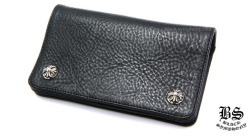 クロムハーツ1ジップクロスボタンレザーウォレット ブラック(財布)
