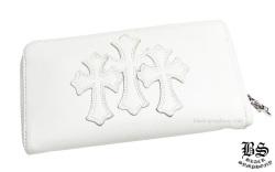 クロムハーツ REC F ジップ #2 レザー 3セメタリークロスパッチ ウォレットホワイト