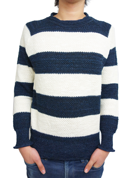 Toecutter Feather Knit Deep Crew L/S NAVY/WHITE