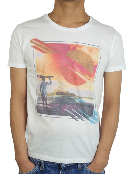 "Rolland Berry S/S TEE ""SURFIN"" WHITE"