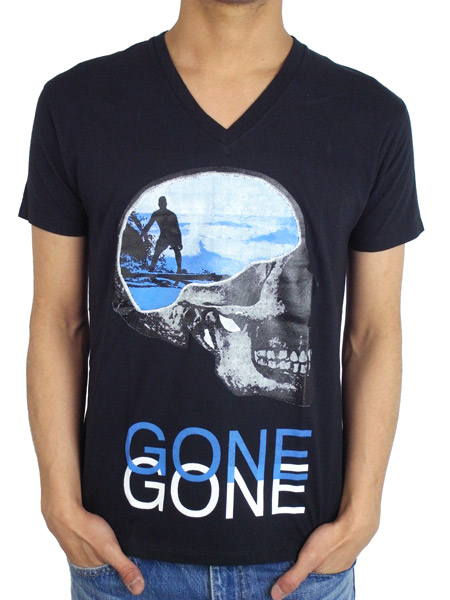 "Rolland Berry S/S V NECK TEE ""SURF GONE"" BLACK"