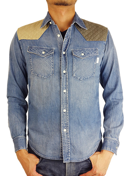 BLUEY QUILTING SHOULDER WESTERN DENIM SHIRTS SAX