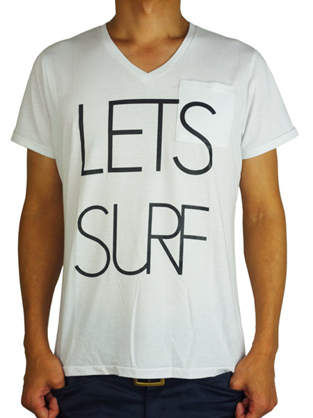 S/S Vneck w/Pocket TEE ' LET'S SURF ' White