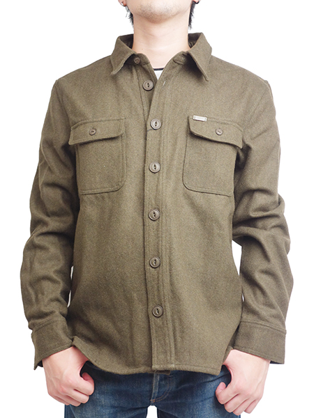 "SURREAL ""KAZU"" Heavy Weight Flannel C.P.O OLIVE"
