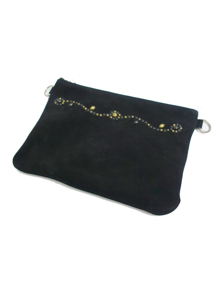 HTC BLACK SUEDE CLUTCH SN33 MIX w/STRAP MEDIUM