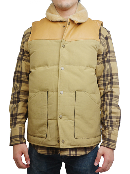 "SURREAL ""KOU"" 60/40 Cloth Grosgrain Boa Neck Down Vest BEIGE"