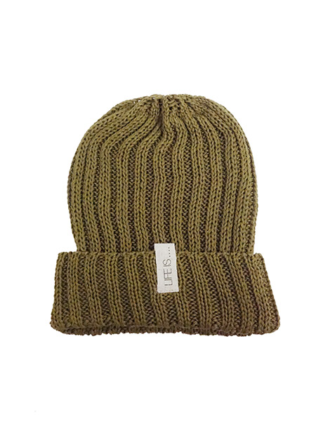 LIFE IS.... COTTON KNIT CAP MOSS