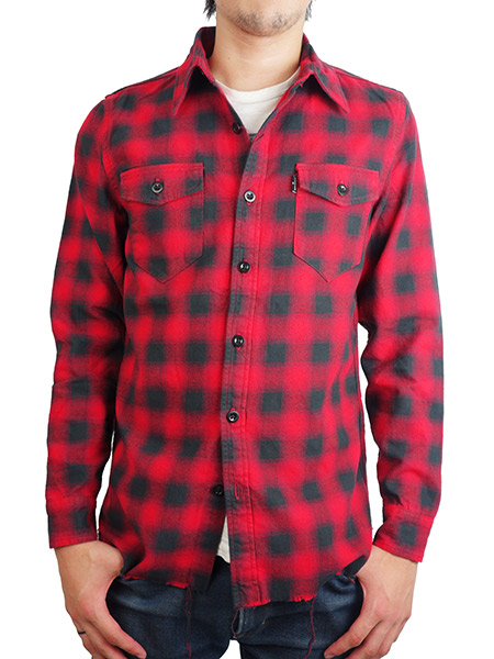 MARBLES CUT OFF FLANNEL SHIRT RED