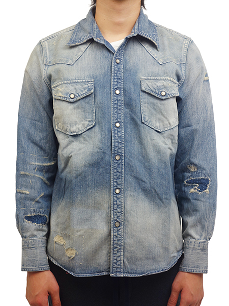 TMT CRUSH BLEACH DENIM SHIRT(HQ) INDIGO LIGHT