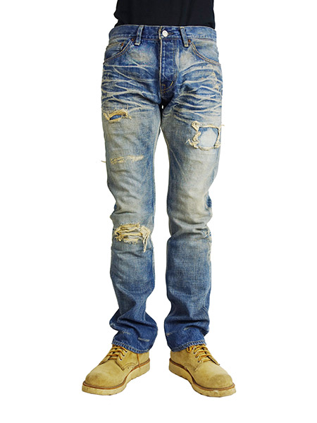 Marbles CRUSH REPAIR DENIM PANTS (STRAIGHT) INDIGO