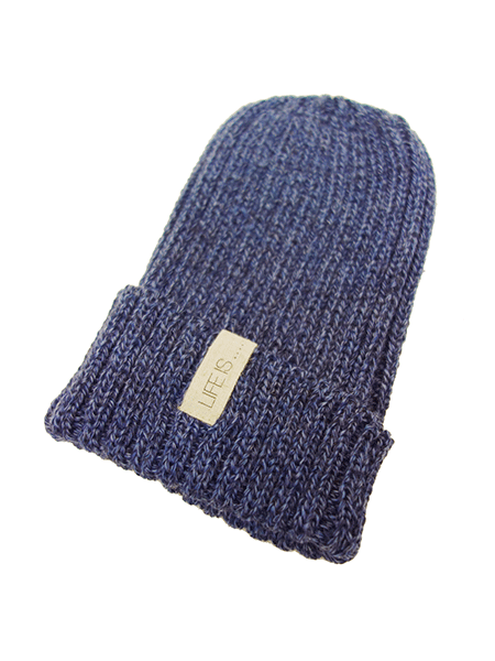 LIFE IS.... WOOL KNIT CAP BLUE