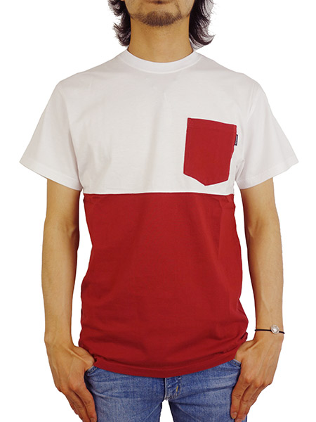THE QUIET LIFE COLOR BLOCKED POCKET TEE WHITE/MAROON