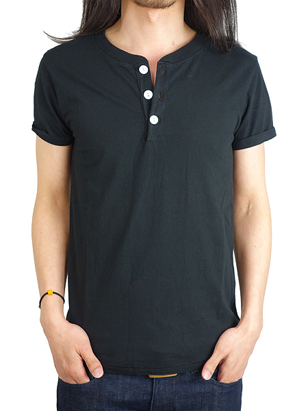 T.S.G from SeaGreen HENLEY NECK S/S BLACK