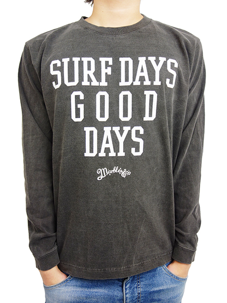 MARBLES SURF DAYS GOOD DAYS L/S T-SHIRT BLACK