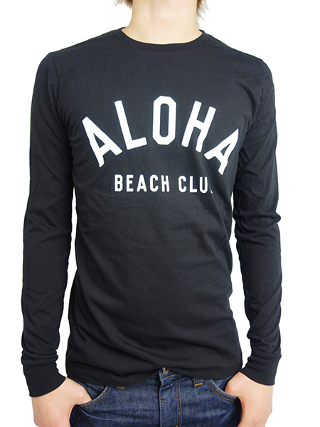 ALOHA BEACH CLUB L/S TEE CREW BLACK