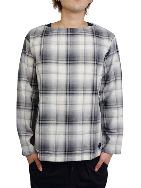 BLUEY PULLOVER BOAT NECK CHECK SHIRT BLACK