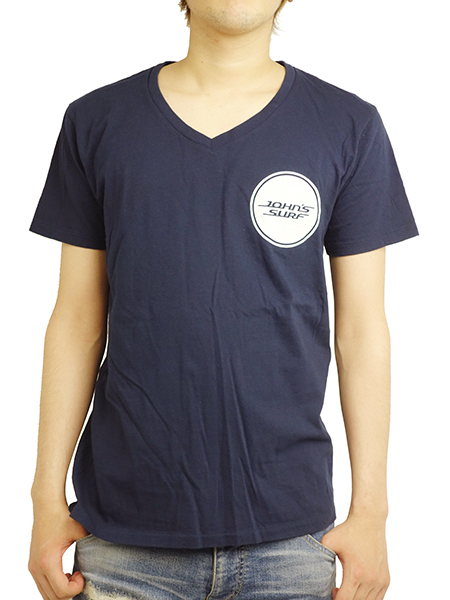 "JOHN'S SURF  V-NECK S/S TEE ""CIRCLE"" NAVY"