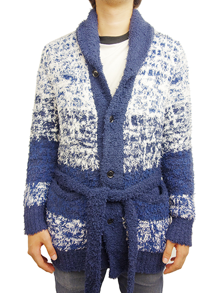 Birvin Uniform Chenille Shawl Collar Long Knit NAVY