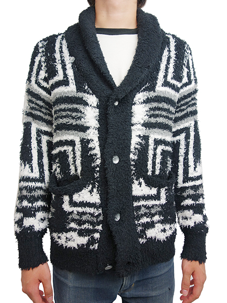 Birvin Uniform Native Patterned Shawl Collar Knit BLACK
