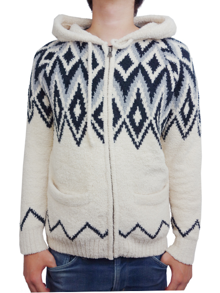 Birvin Uniform Chenille Patterned Zip Up Hoodie WHITE