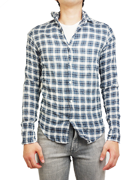Battalion wrinkle gauze L/S plaid shirt MINI CHECK