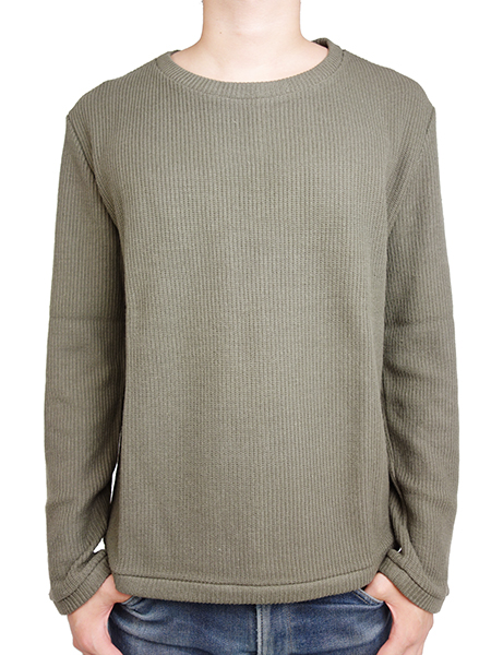 LIFE IS.... AUSTERE CREW  L/S KNIT OLIVE