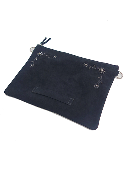 HTC BLACK SUEDE CLUTCH 023 w/STRAP LARGE BLACK×BLACK