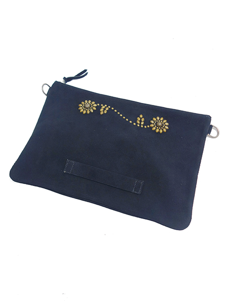 HTC BLACK SUEDE CLUTCH SUN FLOWER w/STRAP LARGE BLACK×BRASS
