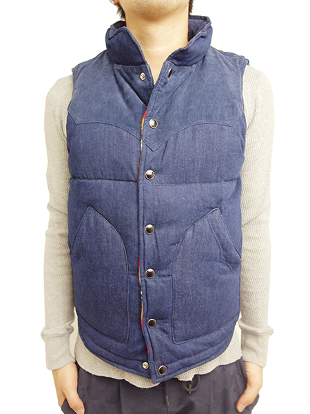 TMT DENIM REVERSIBLE DOWN VEST INDIGO