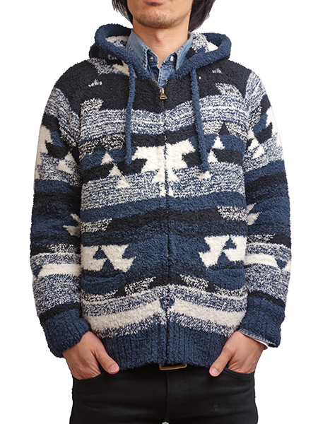 Birvin Uniform Chenille Zip Up Hoodie Navy
