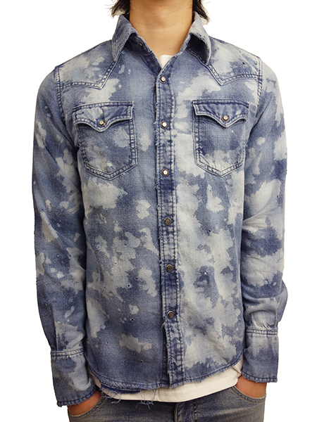TMT DESTROY PROCESSING INDIGO-CHECK SHIRTS BLUE
