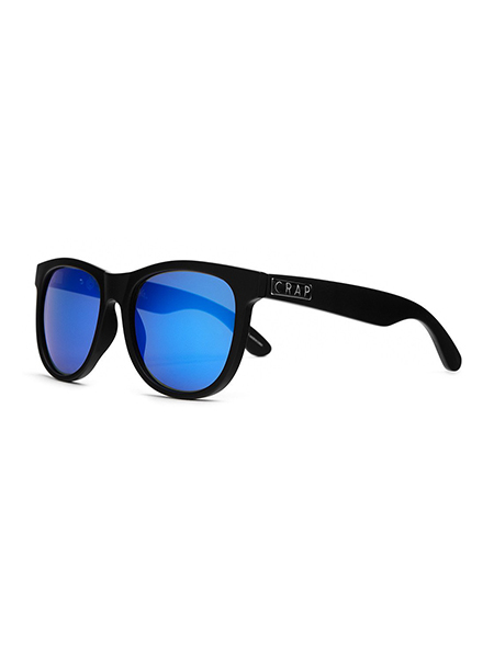 "CRAP EYEWEAR ""The Nudie Mag"" Flat Black w/ Reflective Blue Lenses"