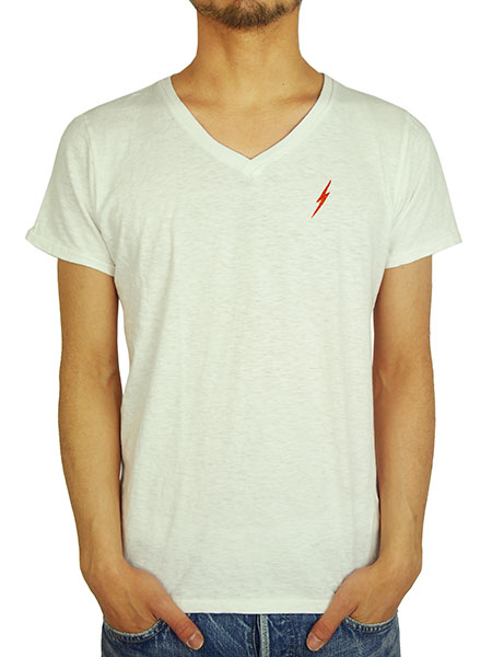 Lightning Bolt V-NECK TEE WHITE