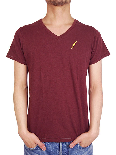 Lightning Bolt V-NECK TEE BURGUNDY